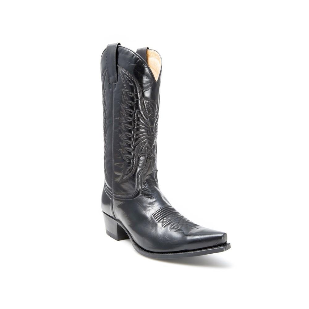 Compra en Noel Western Boots estas Botas Sendra Western para hombre de cuero negro con pespuntes modelo 2073 con envíos gratis a la península 7711 -