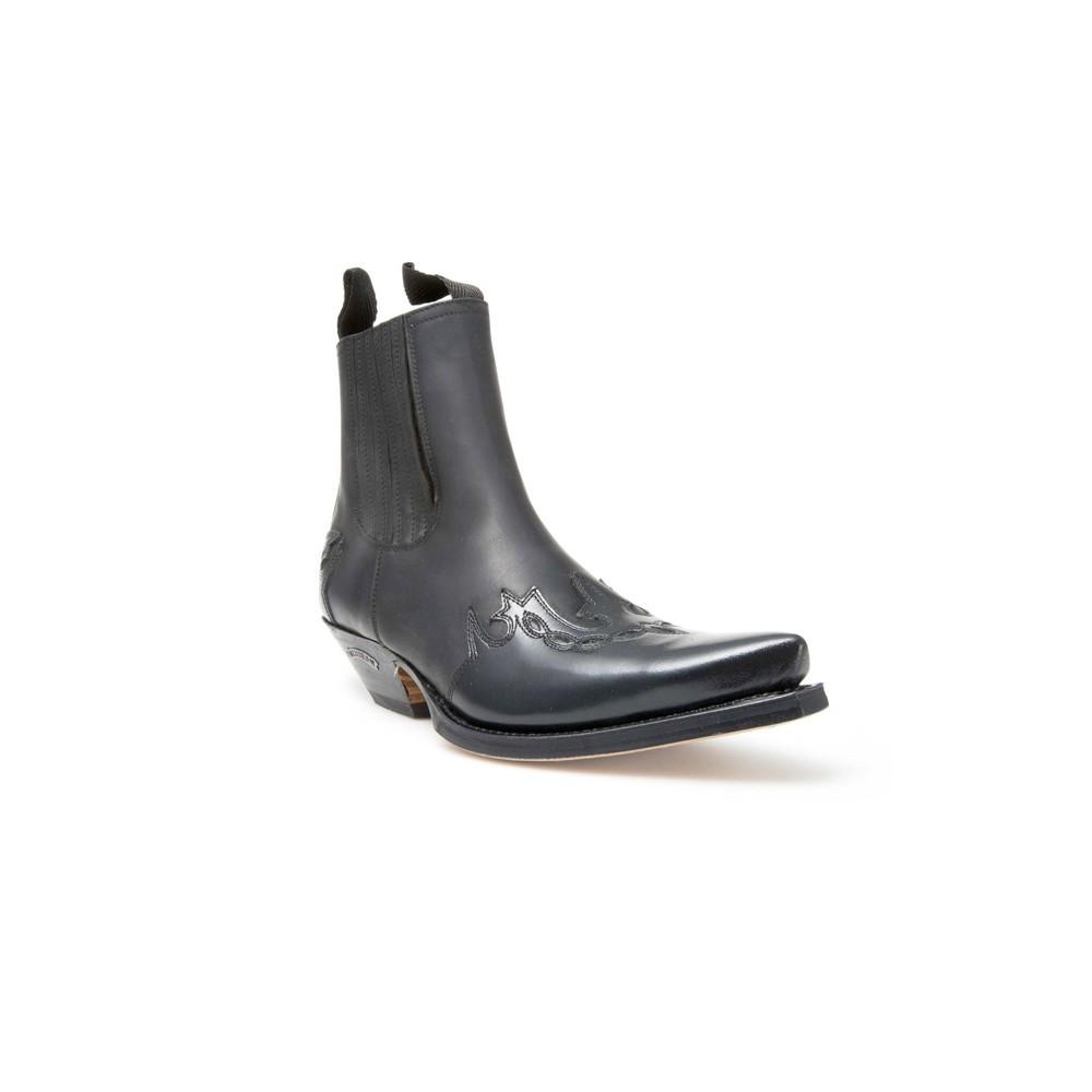 Compra en Noel Western Boots estos Botines Sendra Western para hombre de cuero negro con elásticos modelo 5433 con envíos gratis a la península 8010 -