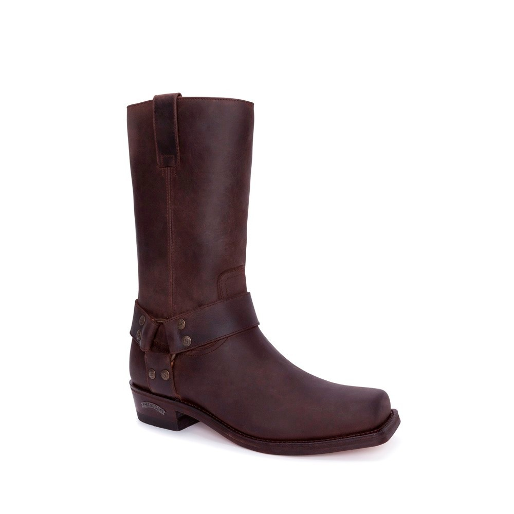 Compra en Noel Western Boots estas Botas Sendra Biker para hombre de cuero marrón con arnés fijo modelo 1918 con envíos gratis a la península 2509 -
