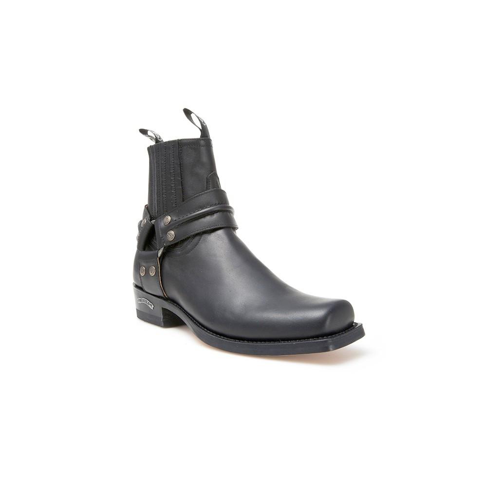 Compra en Noel Western Boots estos Botines Sendra Biker para hombre de cuero negro con arnés modelo 2746 con envíos gratis a la península 8259 -