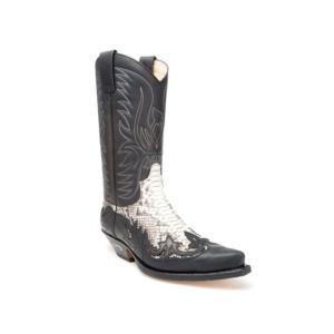Compra en Noel Western Boots estas Botas Sendra Western para hombre de cuero negro y piel de serpiente modelo 3241 con envíos gratis a la península 9103