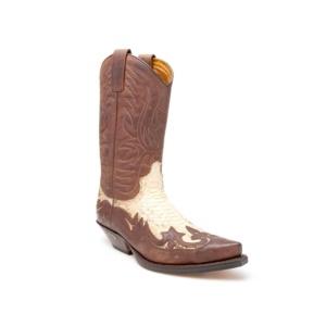 Compra en Noel Western Boots estas Botas Sendra Western para hombre de cuero marrón y piel de serpiente modelo 3241 con envíos gratis a la península 9106