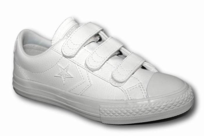 zapatillas converse star player ev ox jr blancas piel