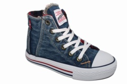 ZAPATILLAS LEVIS ORIGINAL RED TAB HI CHECKER BLUE DENIM