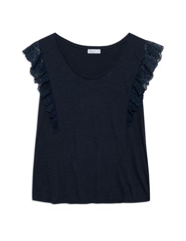 Camiseta puntilla plisada