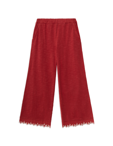 Embroidered hem trousers