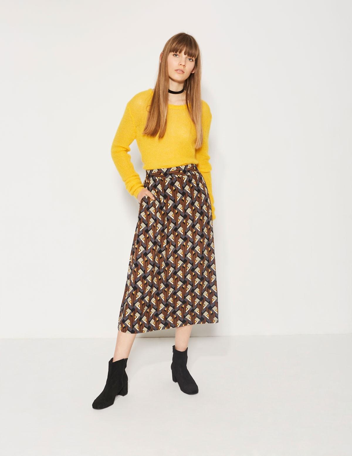 Falda midi estampado geométrico