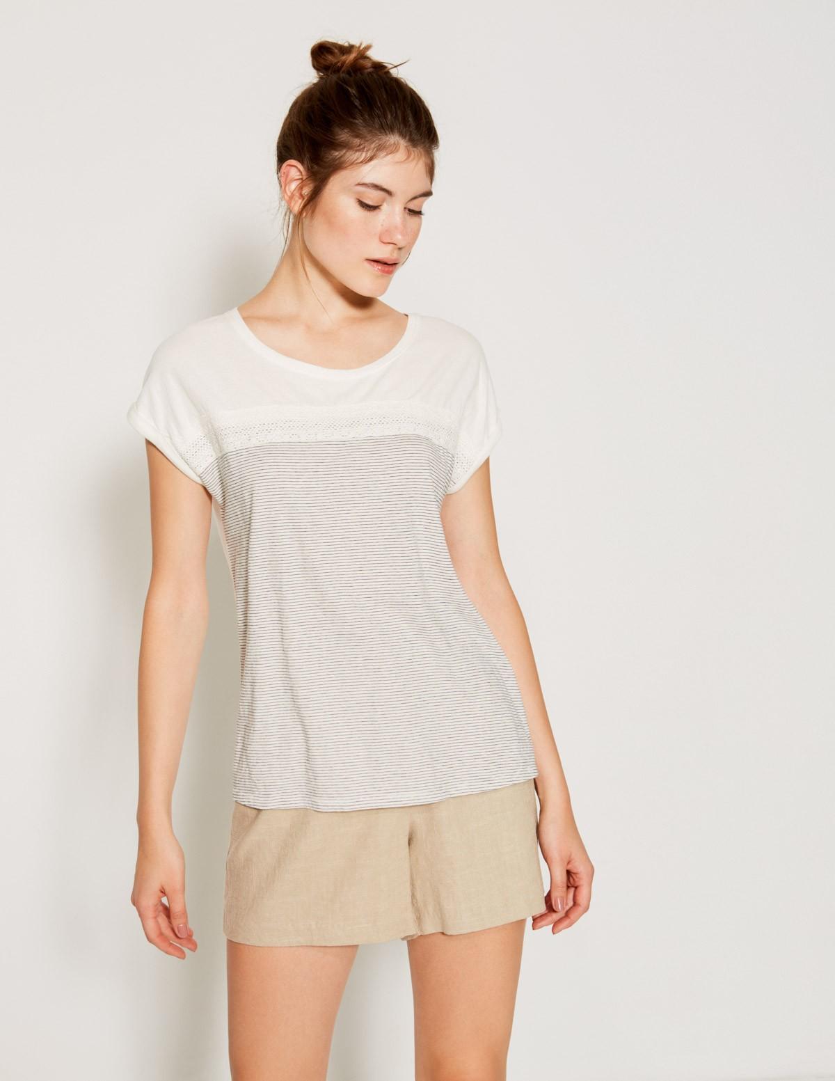 Camiseta rayas y puntilla