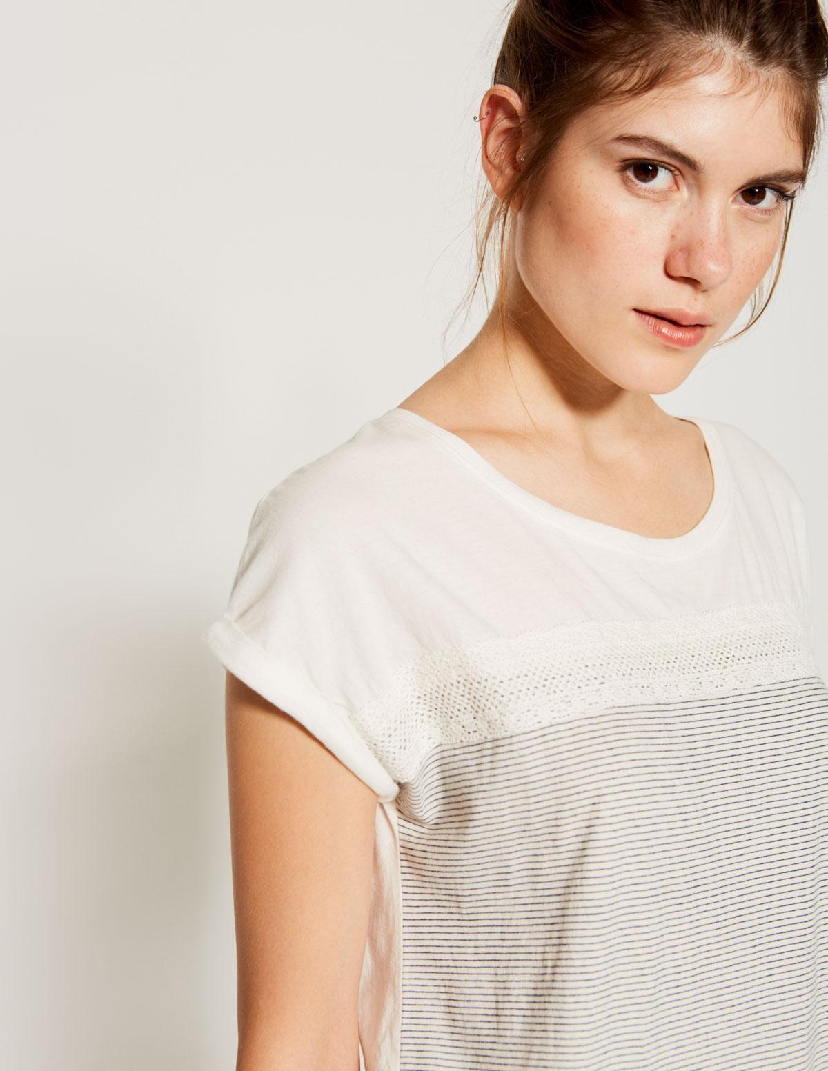 Camiseta rayas y puntilla - Ítem1