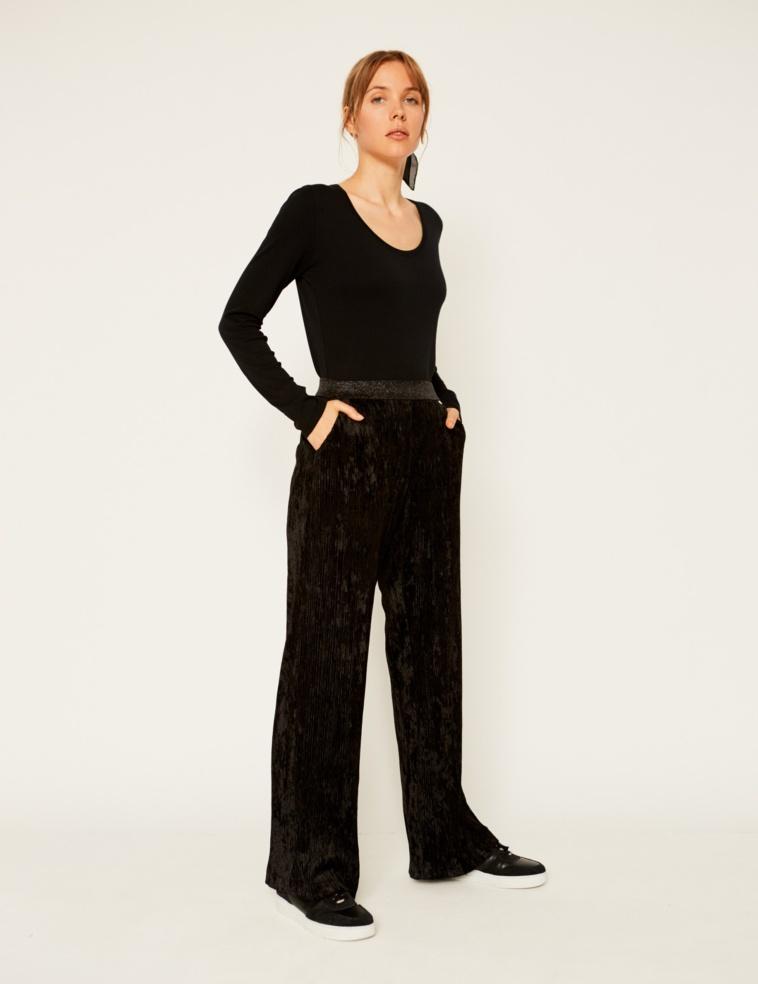 Pantalon en velours plissé