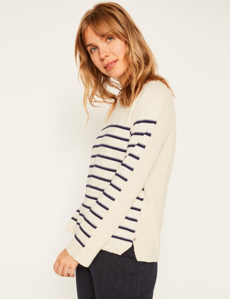 Methalic striped sweater