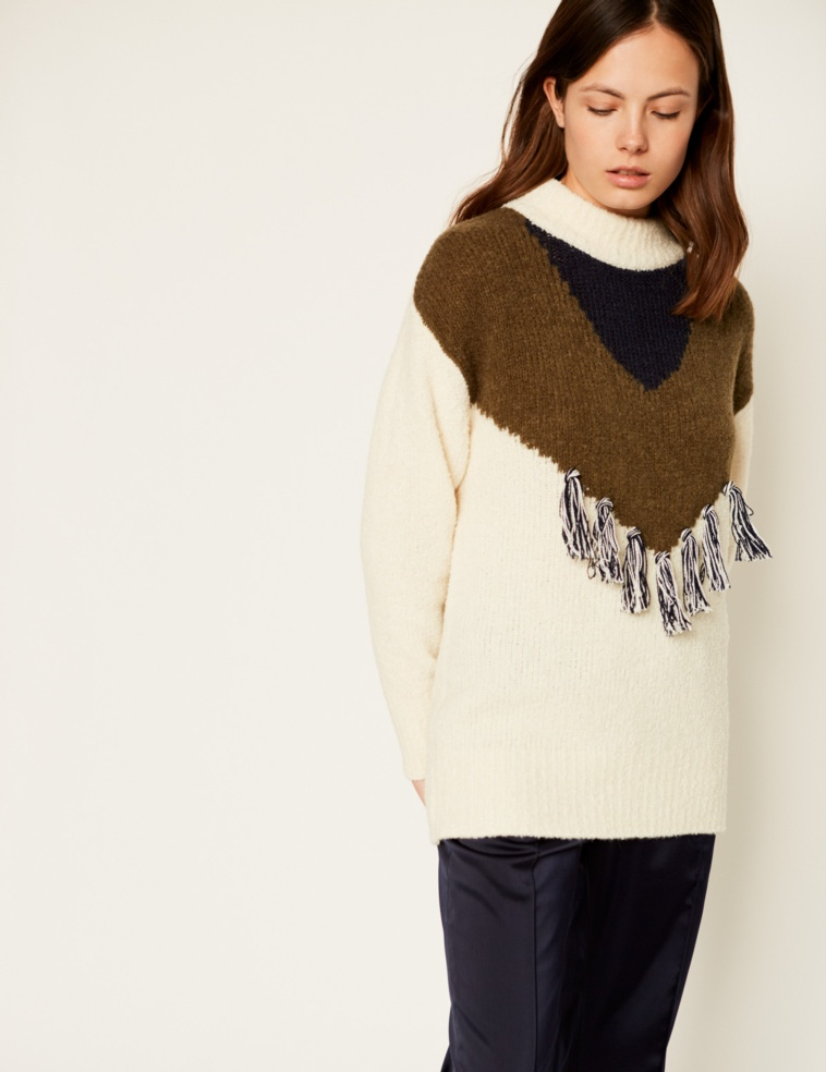 Jacquard and pompoms sweater