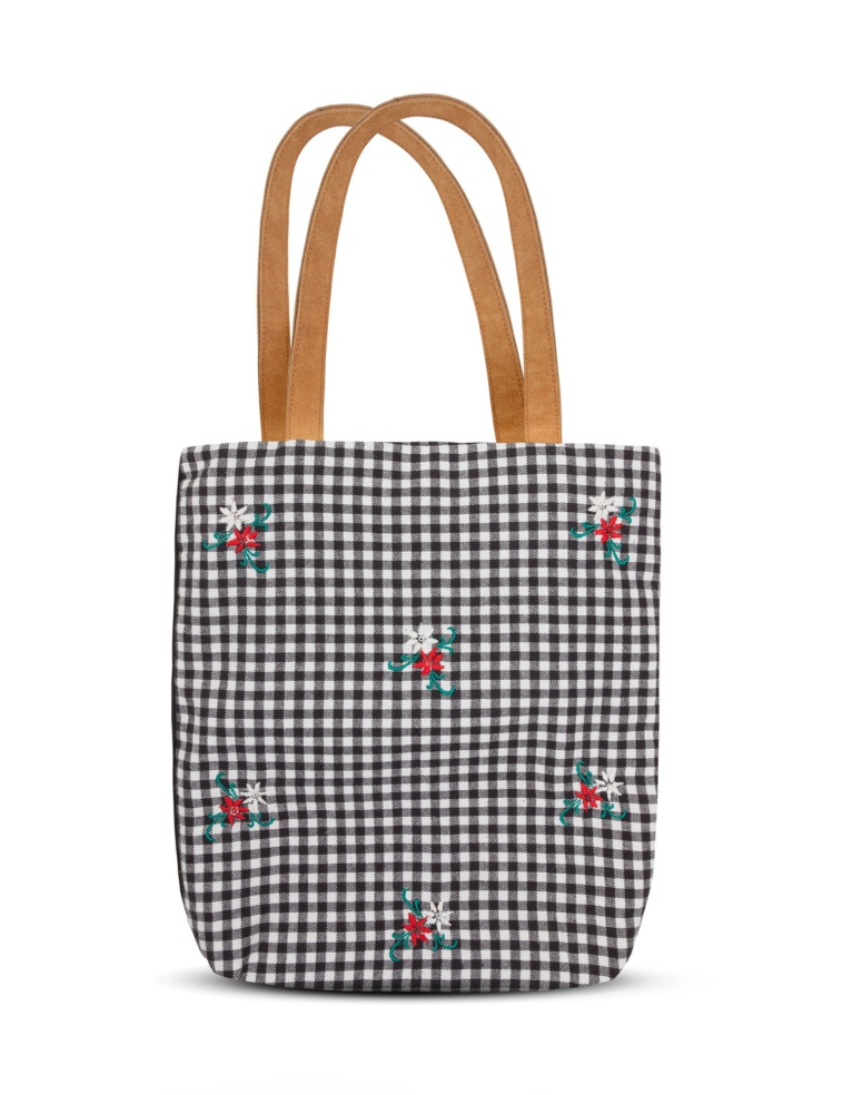 Bolso shopper flores bordadas