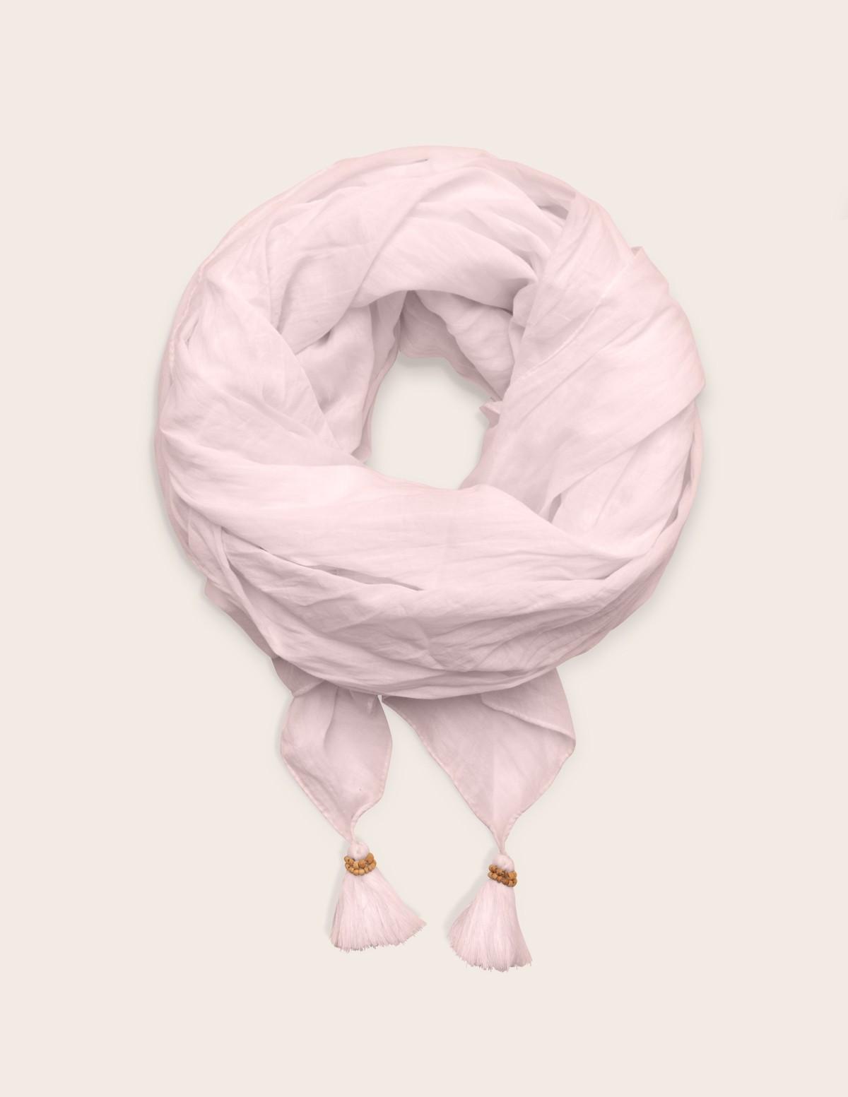 Pañuelo algodón orgánico detalle pompones