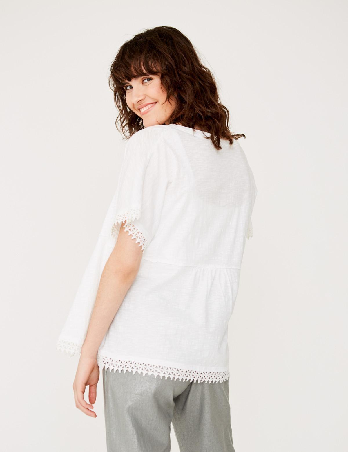 Organic cotton lace edging jacket - Item1