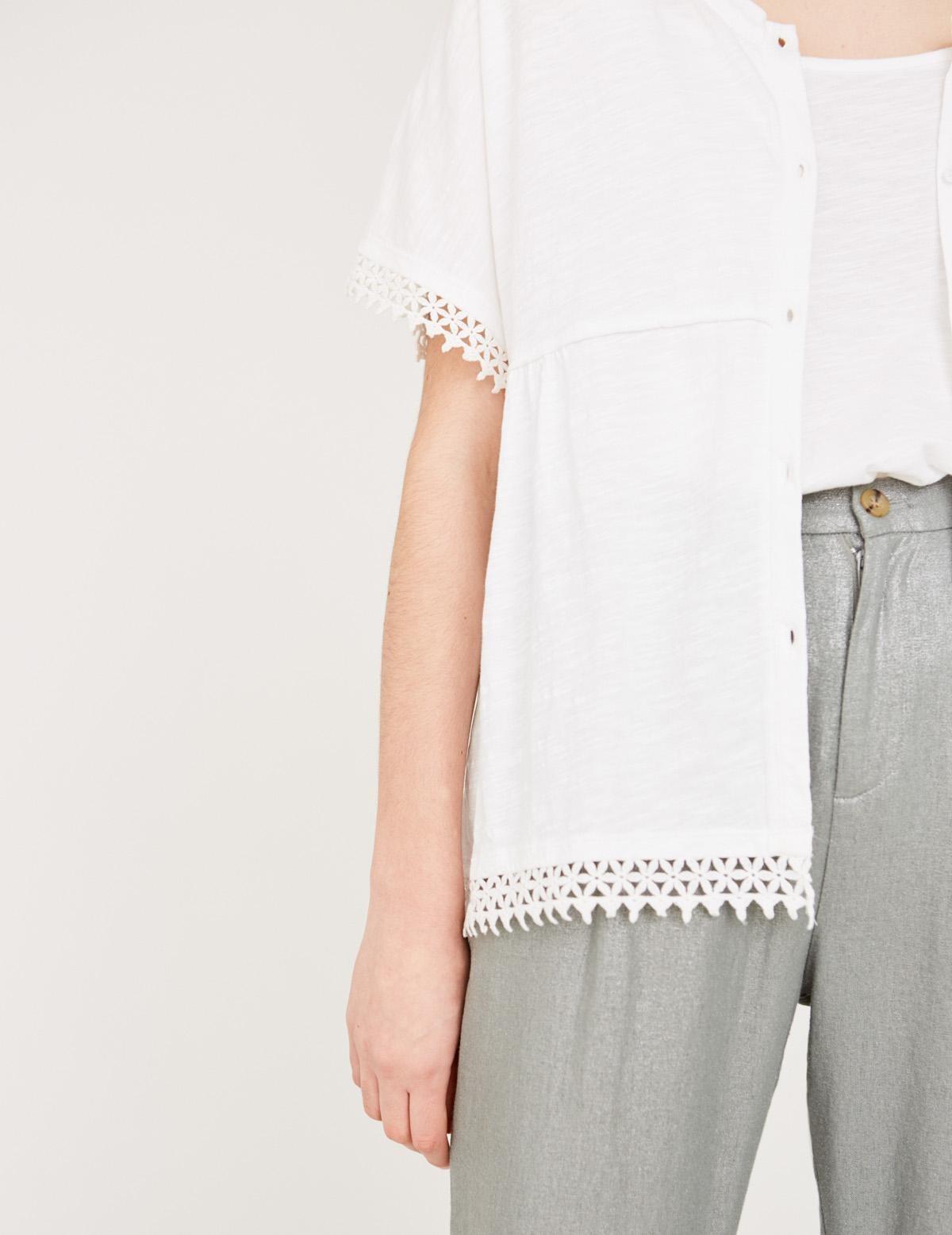 Organic cotton lace edging jacket - Item2