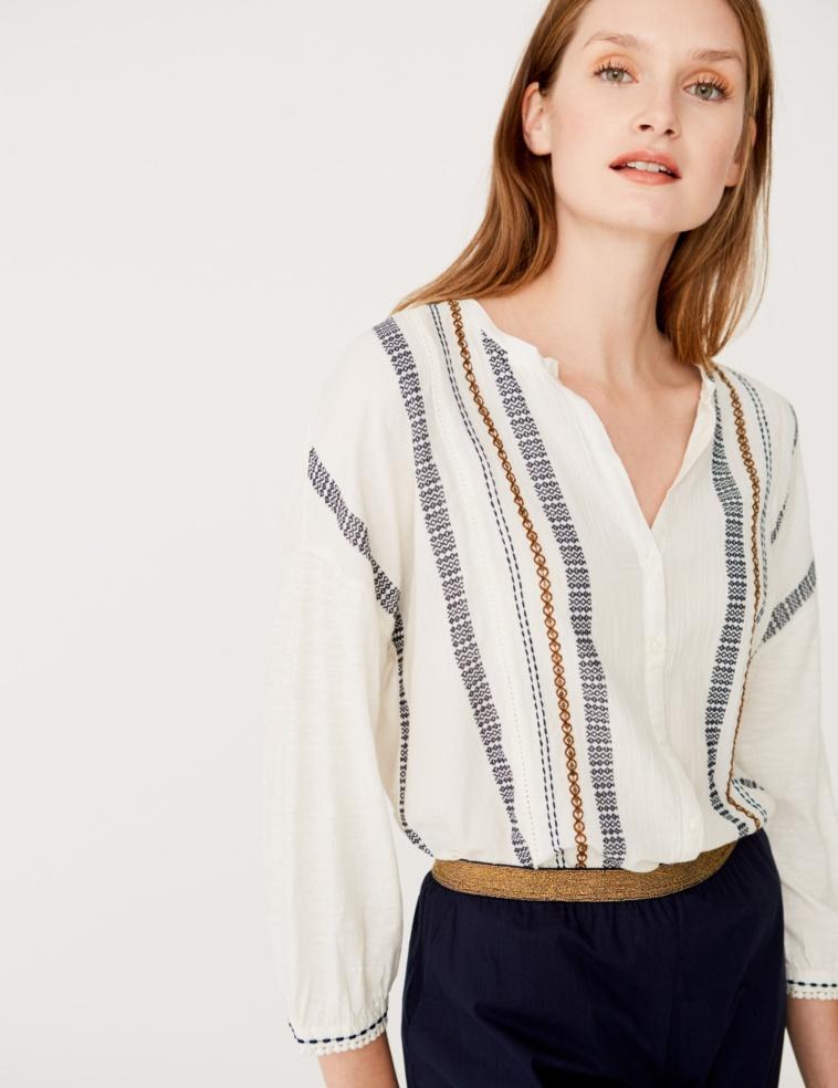 Camisa tejido de jacquard y bordado