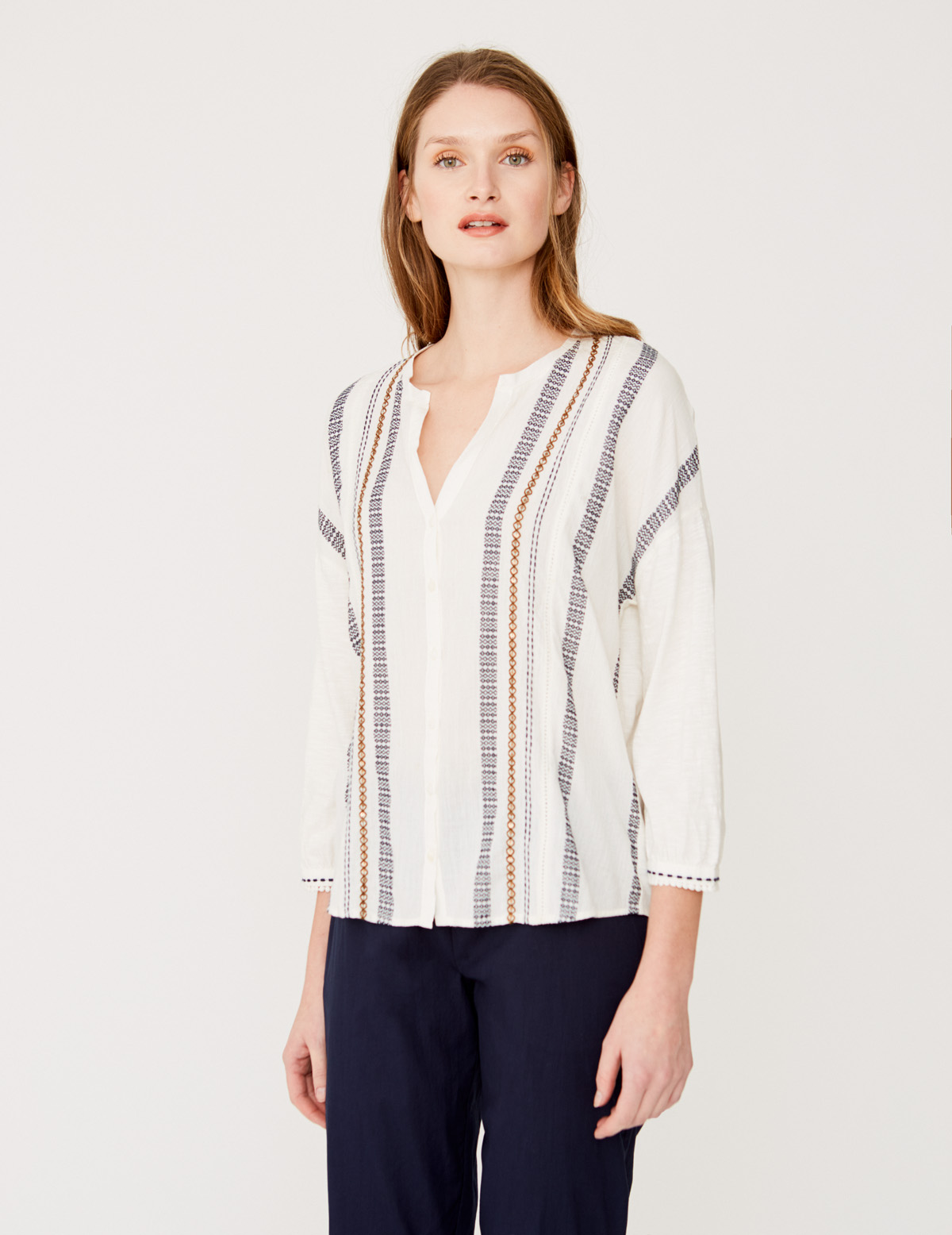 Jacquard and embroidered shirt