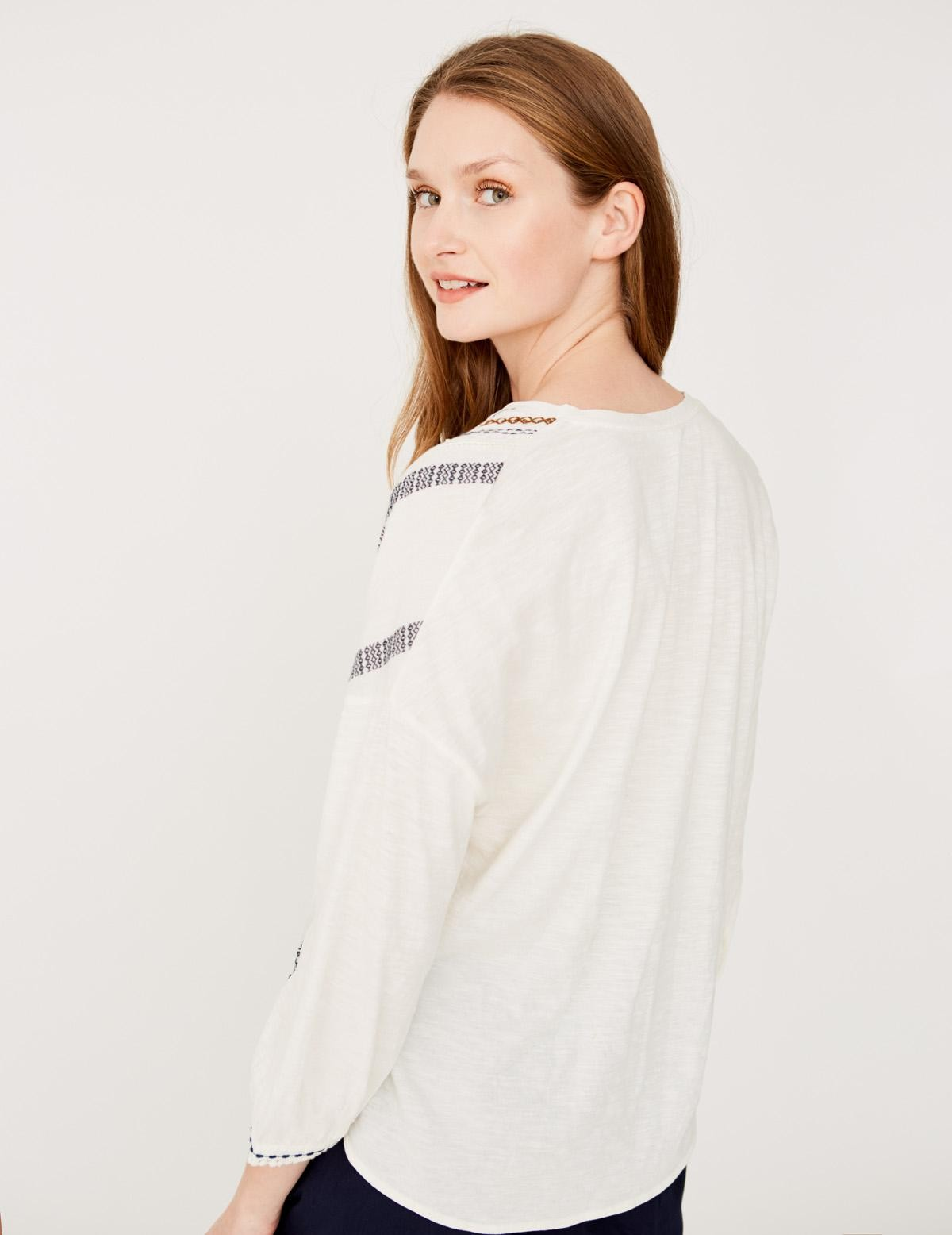 Camisa jacquard y bordado - Ítem1