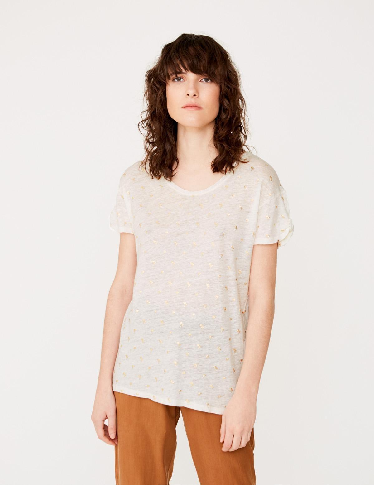 Camiseta manga corta estampado palmeras - Ítem1