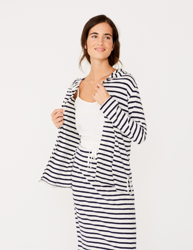 Striped t-shirt with hood