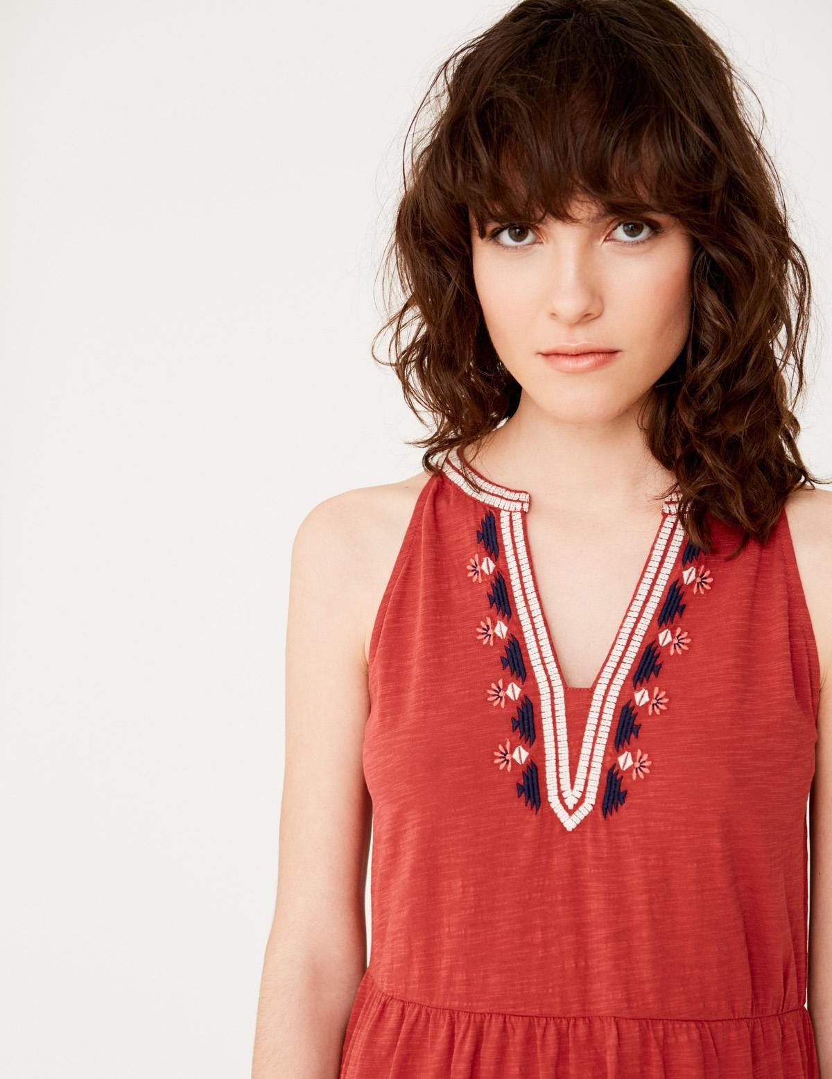 Sleeveless embroidered dress - Item1