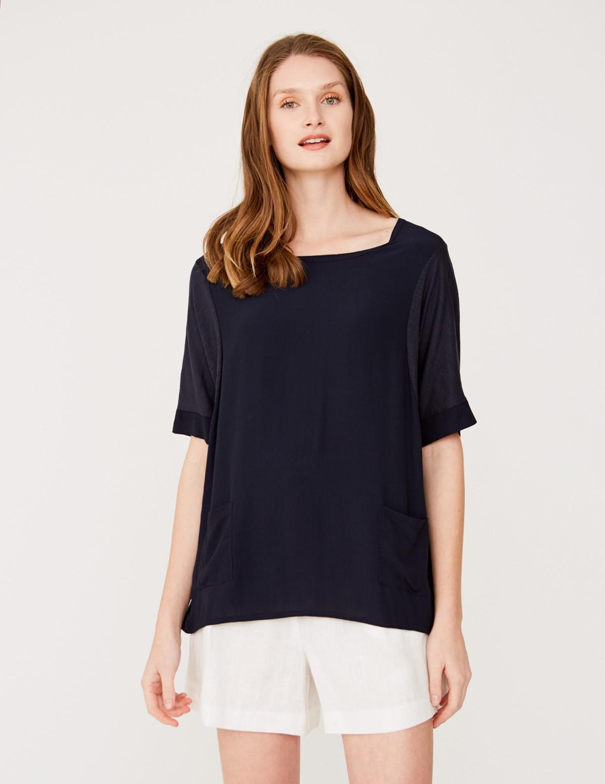 Camiseta combinación de tejidos