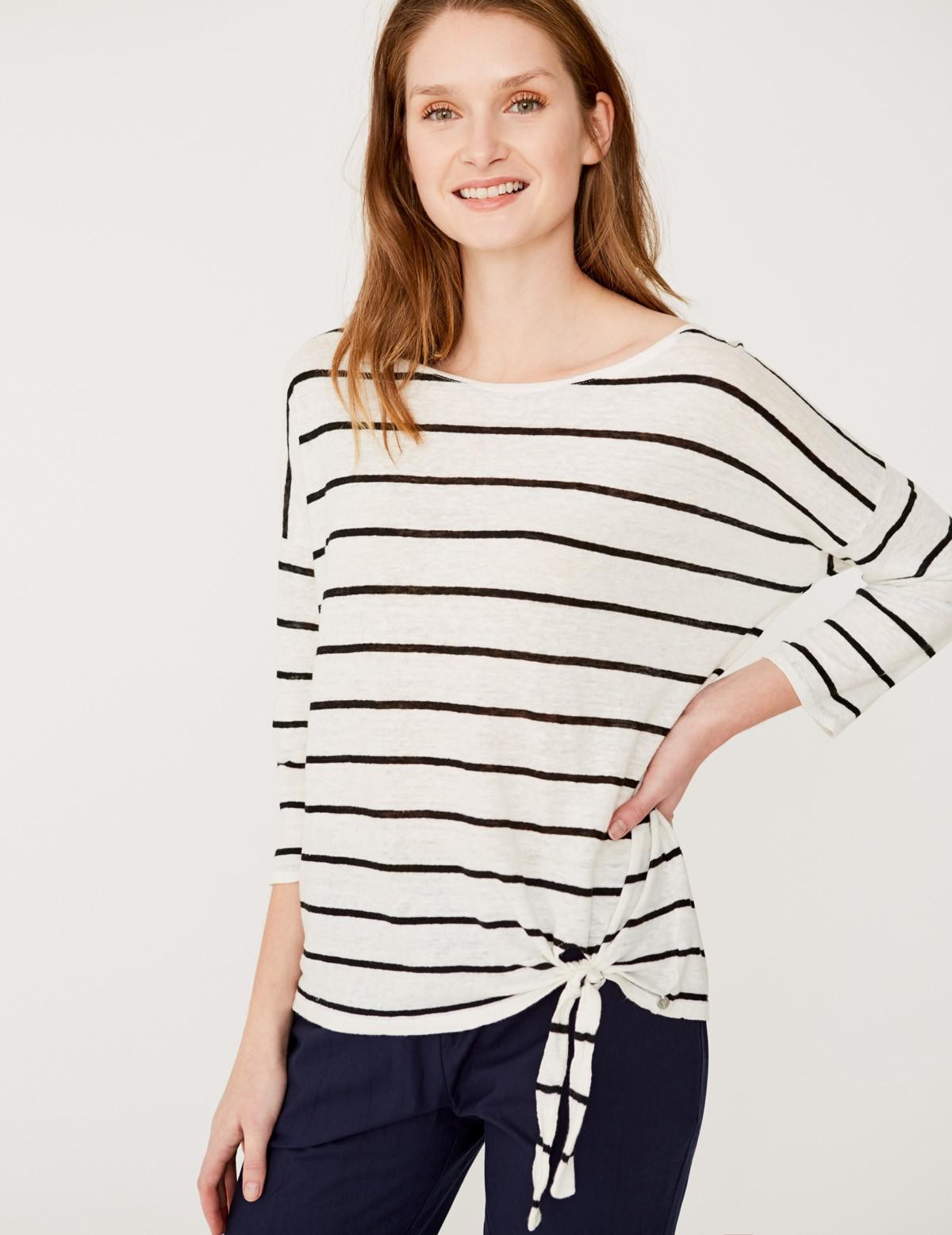 Camiseta de lino rayas con nudo en el bajo
