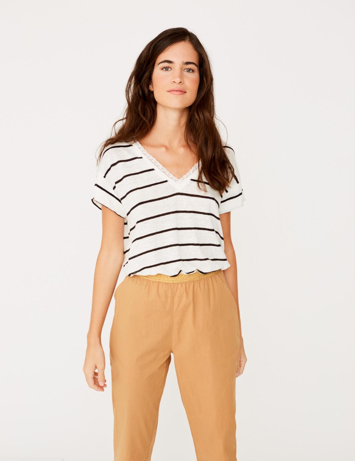 Camiseta de lino rayas