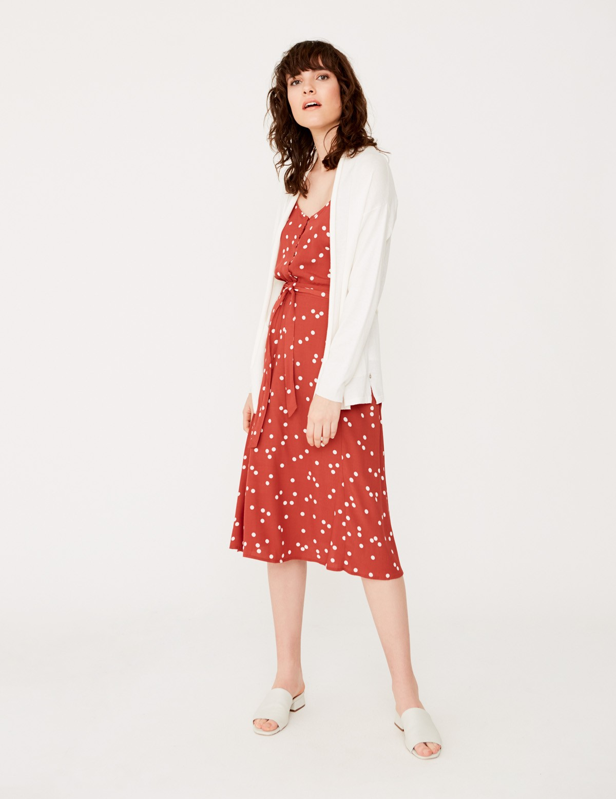 Cardigan with belt and pockets