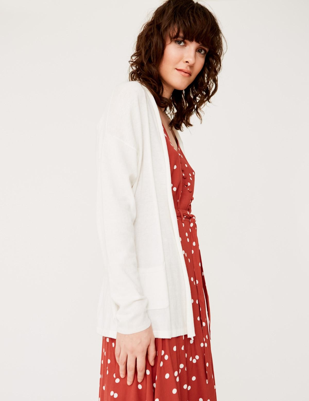 Cardigan with belt and pockets - Item1