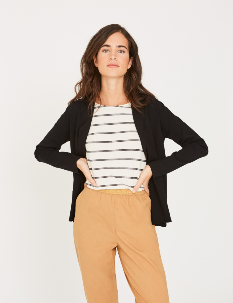 Open cardigan with lapels