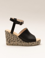 Leather and jute wedges