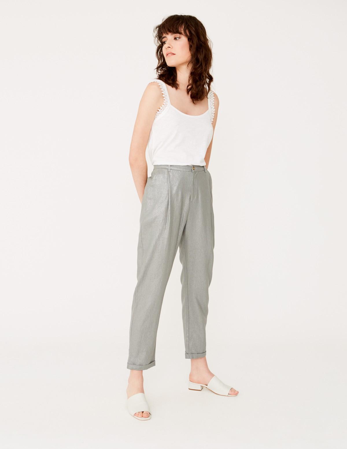 Metallic linen trousers