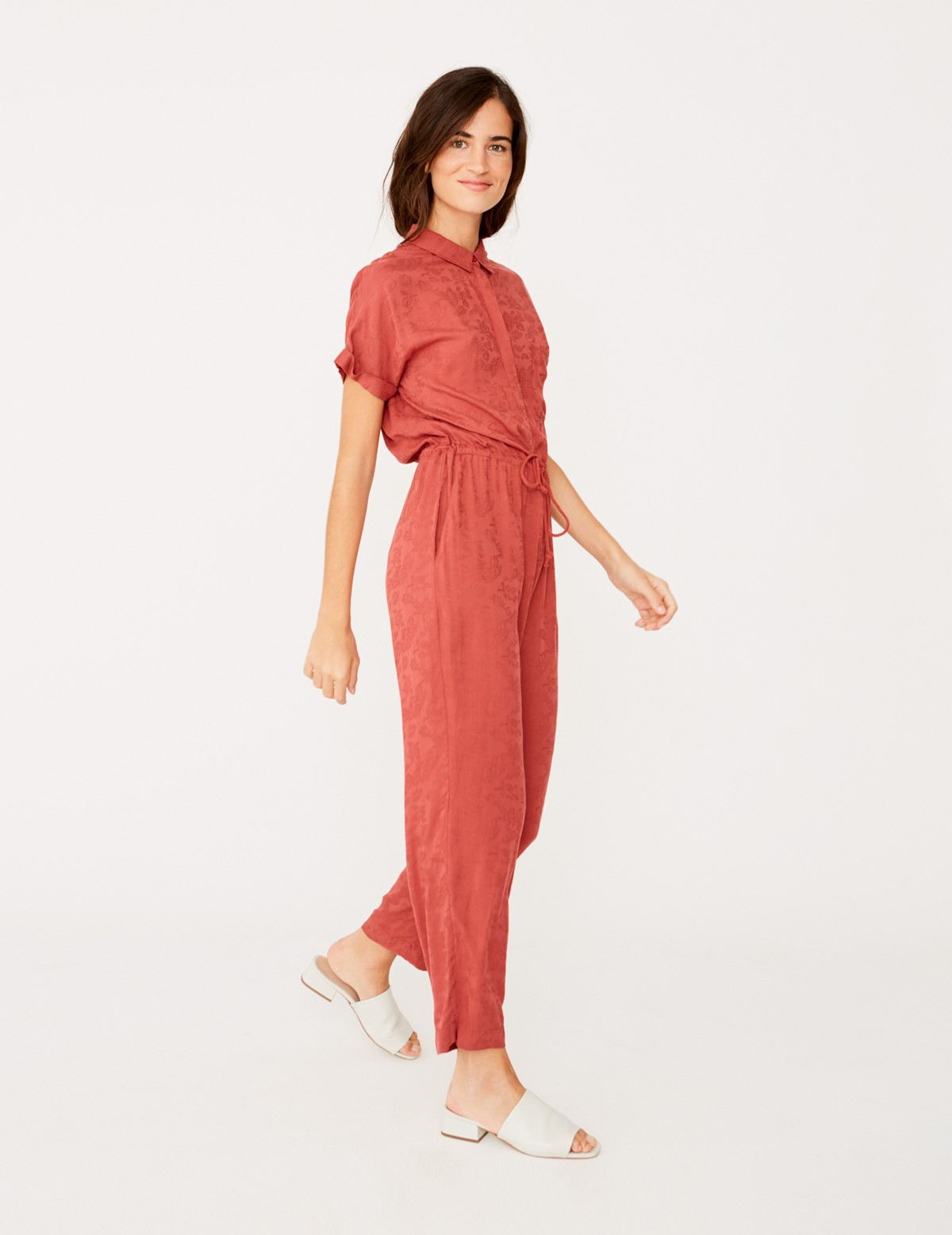 Flowing shirt-style jumpsuit