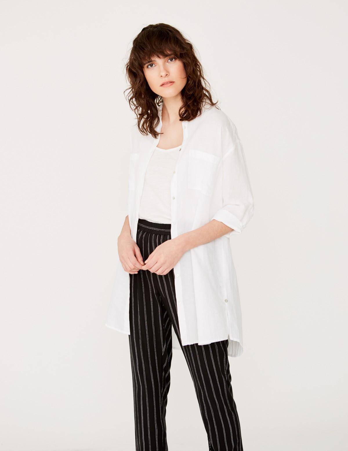 Camisa larga de lino