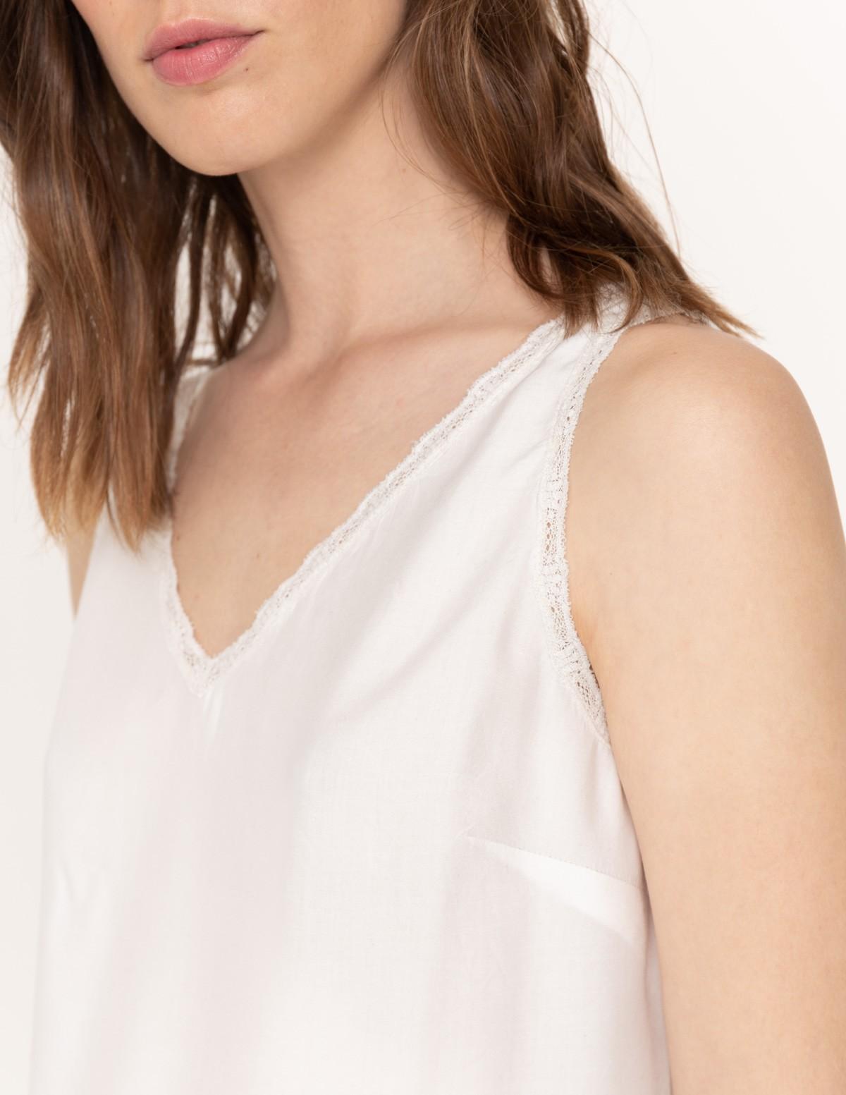 Camiseta sin mangas tejidos combinados - Ítem2