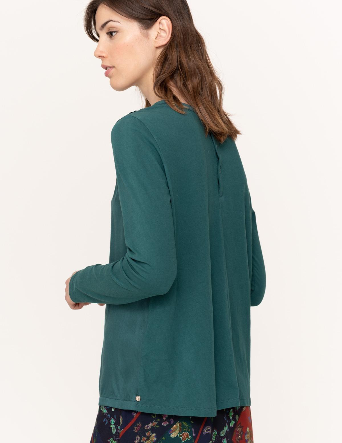 Camiseta fruncidos tejidos combinados - Ítem1
