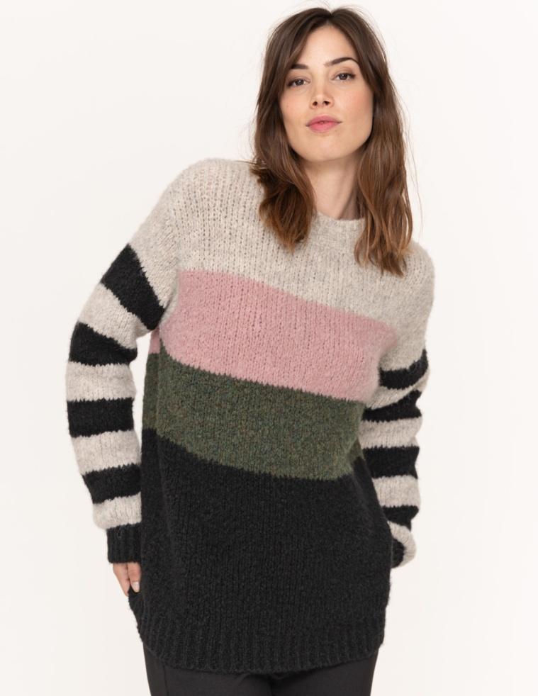Intarsia striped jumper