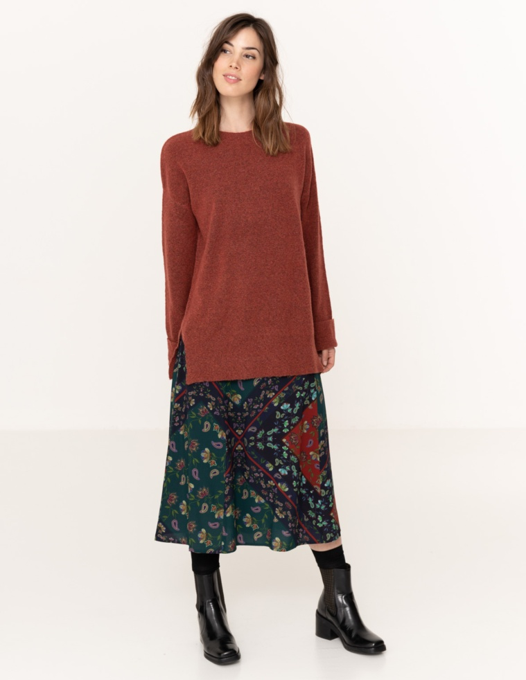 Jumper with folded cuffs
