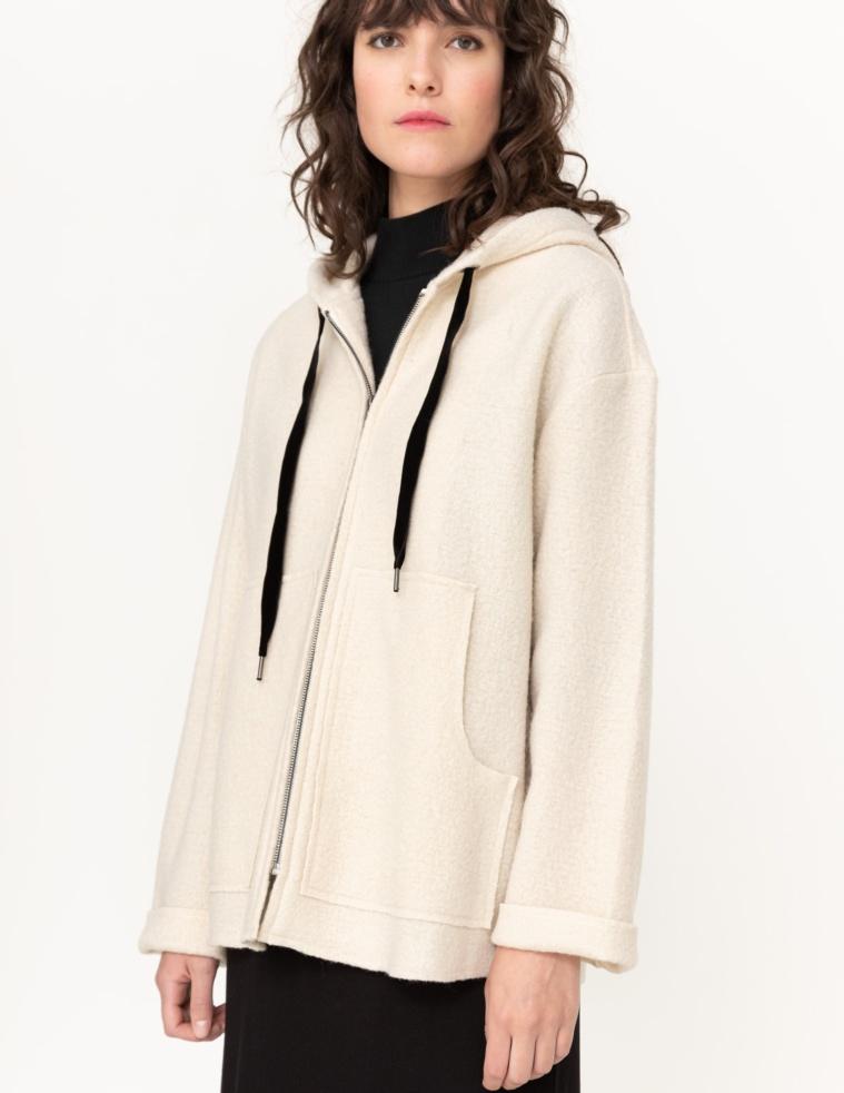 Abrigo lana con capucha