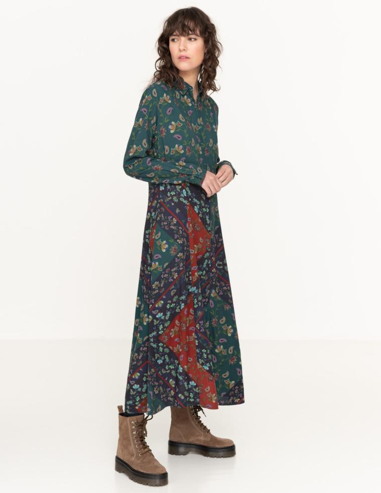 Vestido camisero patchwork