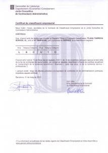 PLANA FÀBREGA SERVEIS CERTIFICADA COM EMPRESA DE SERVEIS EN EL REGISTRE OFICIAL D'EMPRESES CLASSIFICADES