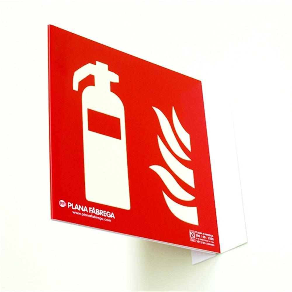 Placa fotoluminescent Extintor classe A normativa CTE PF 21x21cm.