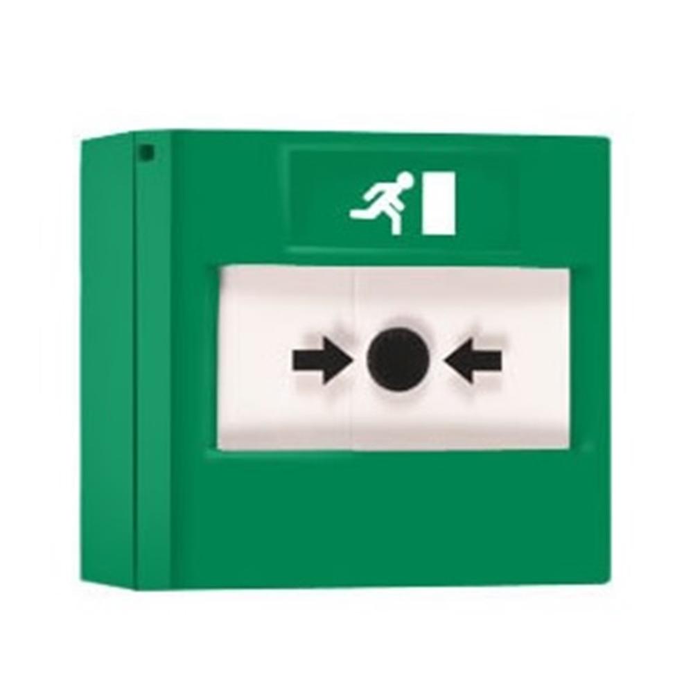 Polsador d'alarma rearmable verd per a emergencies