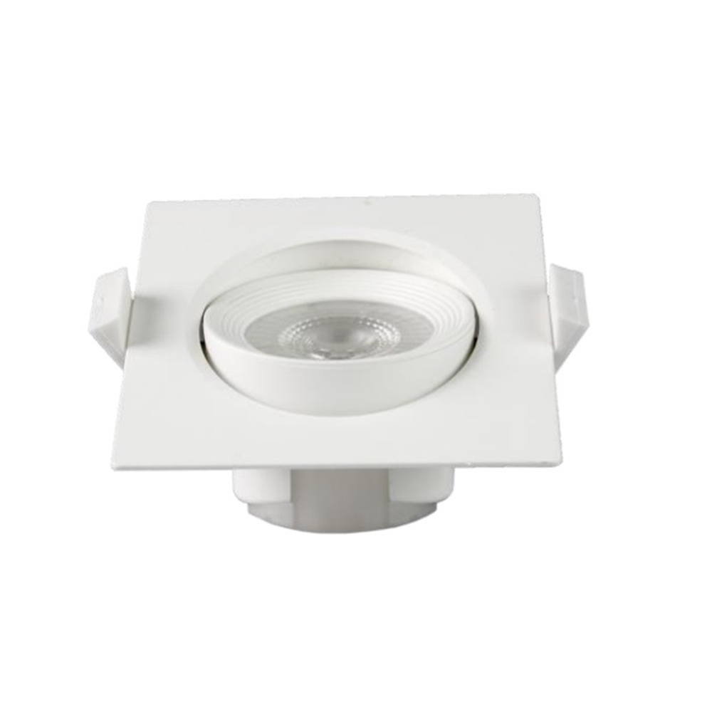 Spotlight LED Buxo quadrat orientable 25º blanc 90x90x42mm IP20 7W 3000K 38º 560lm