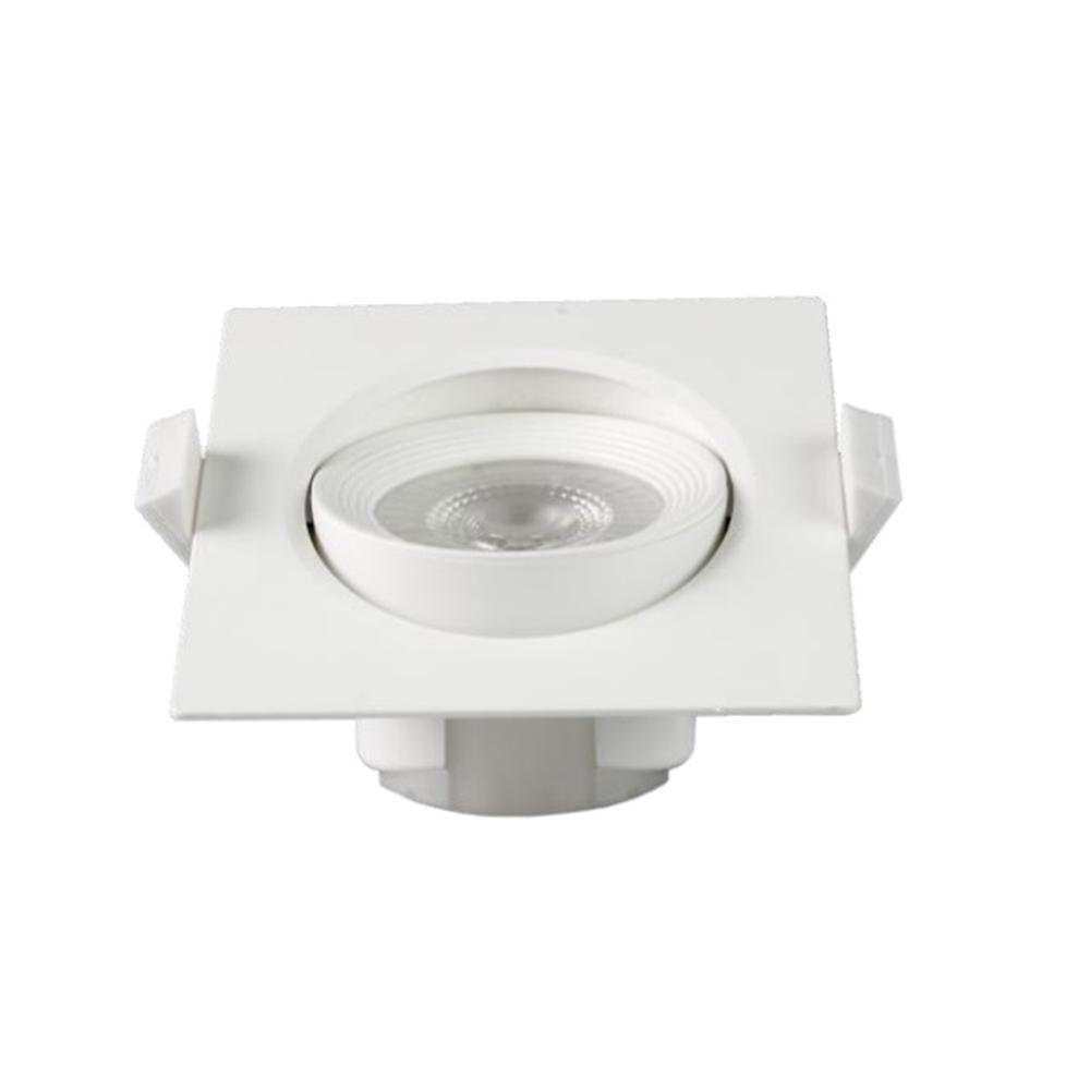 Spotlight LED Buxo quadrat orientable 25º blanc 90x90x42mm IP20 7W 4000K 38º 600lm