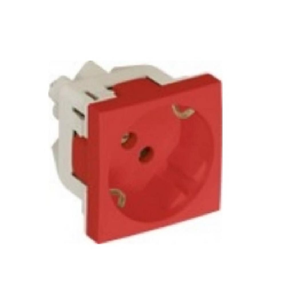 Base endoll Schuko 2P+T + Protecció. Vermell