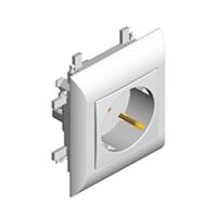 Base enchufe 2P+T + Proteccion para Canales 60/75 blanco