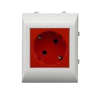 Base enchufe 2P+T + Proteccion para Canales 60/75. Rojo